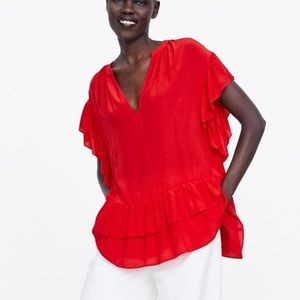 Zara Top red ruffle NWT short sleeve v Neck flowy
